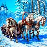 Раскраска тройка лошадей
