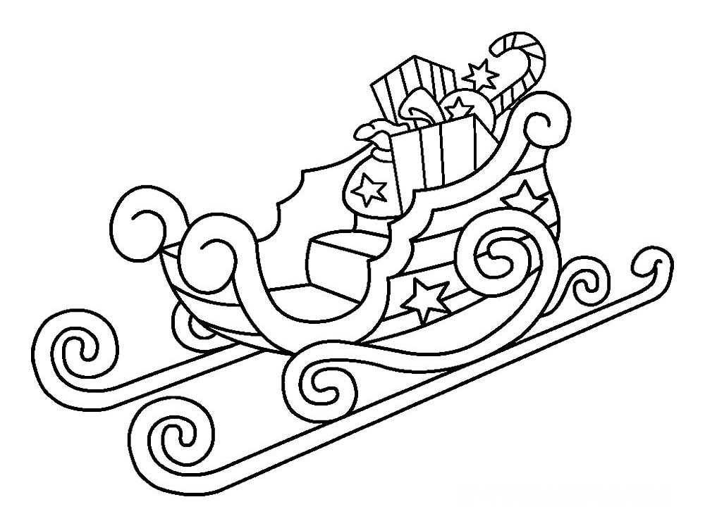Картинка черно белая сани с подарками