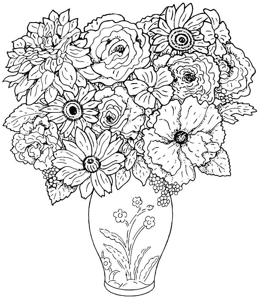 Раскраски цветы распечатать