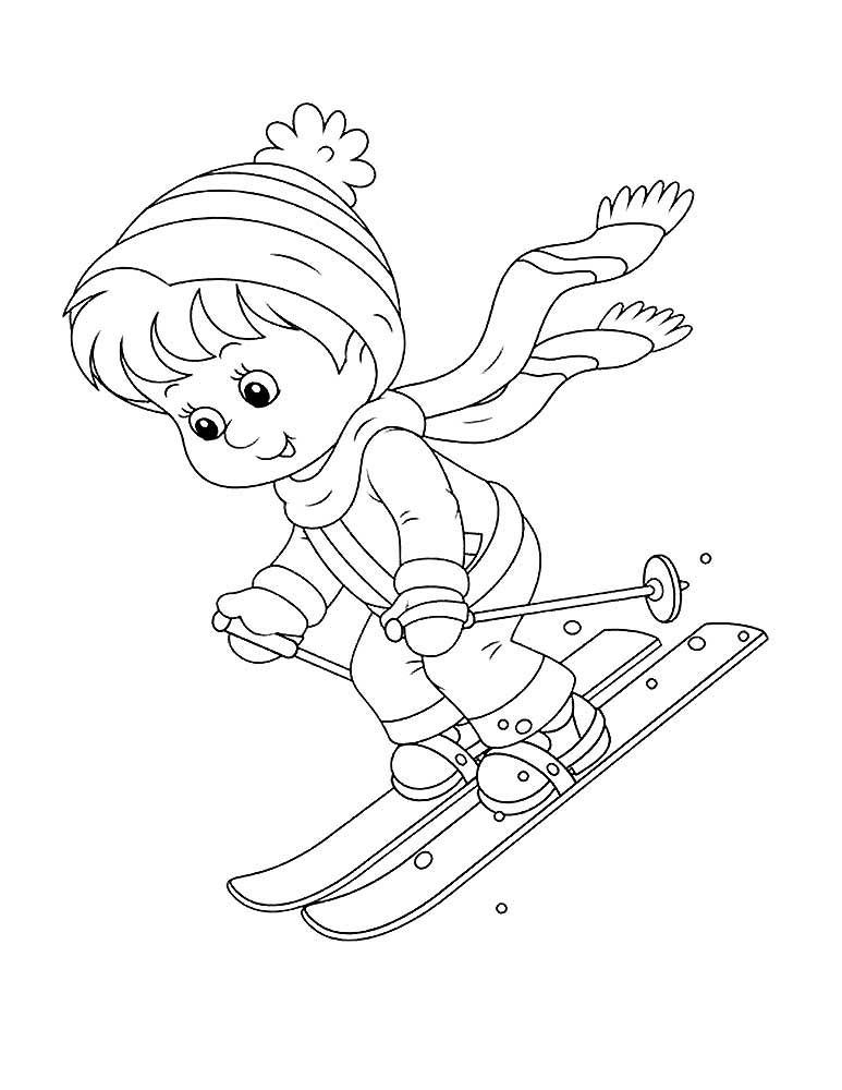 Зимний спорт картинки для детей раскраски