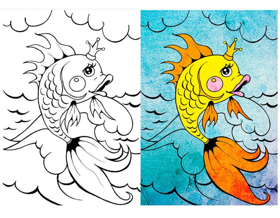 Раскраска золотая рыбка скачать и распечатать