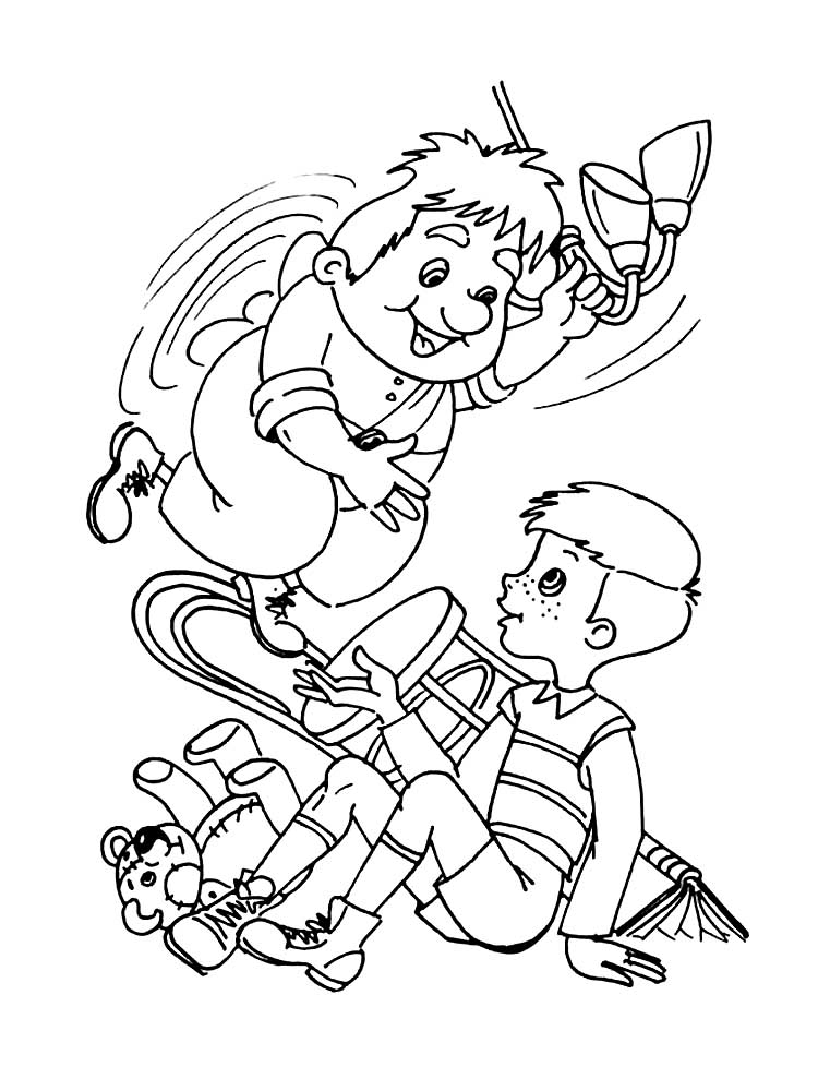 запросу раскраска к сказке малыш и карлсон который живет на крыше некрасов фотограф индивидуальным