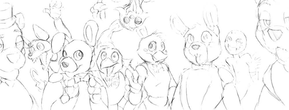 Картинки фнаф для срисовки карандашом все аниматроники