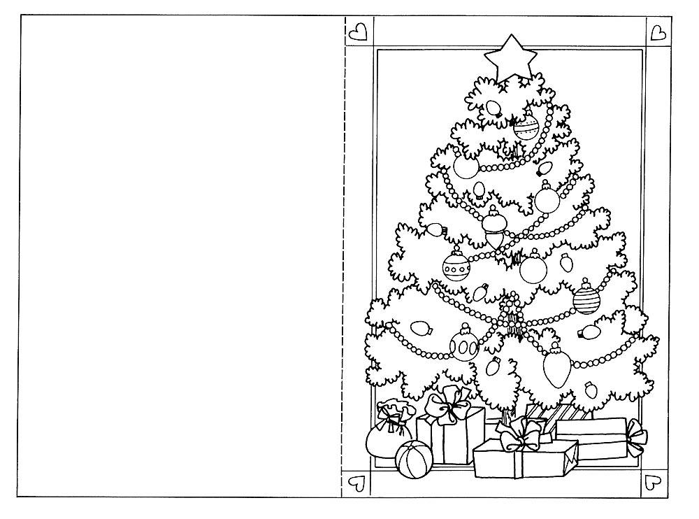Раскраска новогодняя открытка распечатать