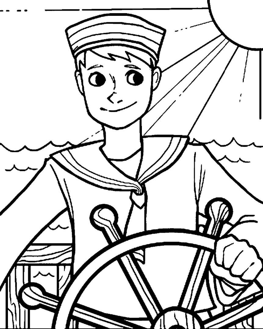 Моряк раскраска распечатать