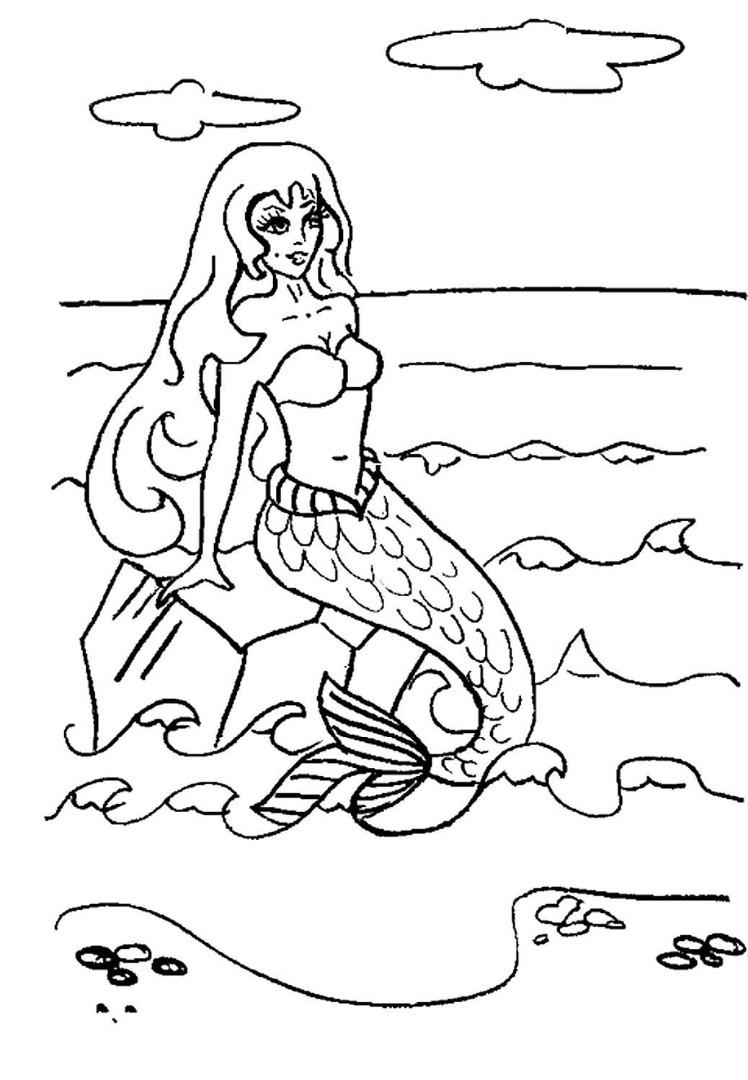 Раскраска русалка скачать и распечатать