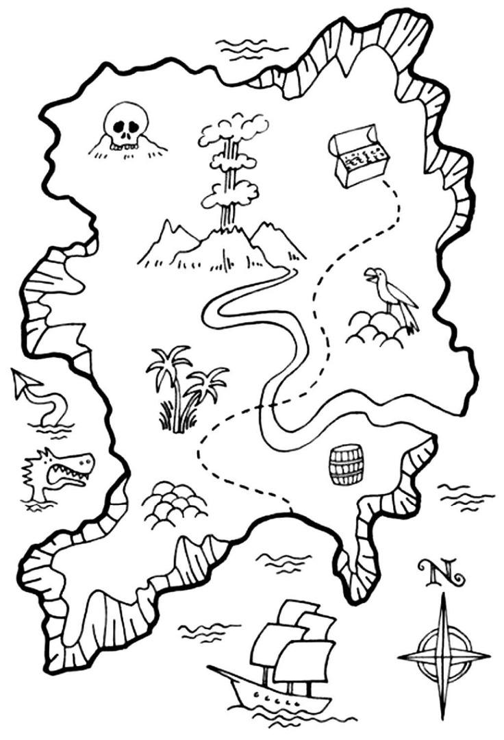 карта для игры в пиратов картинка распечатать потому что дома