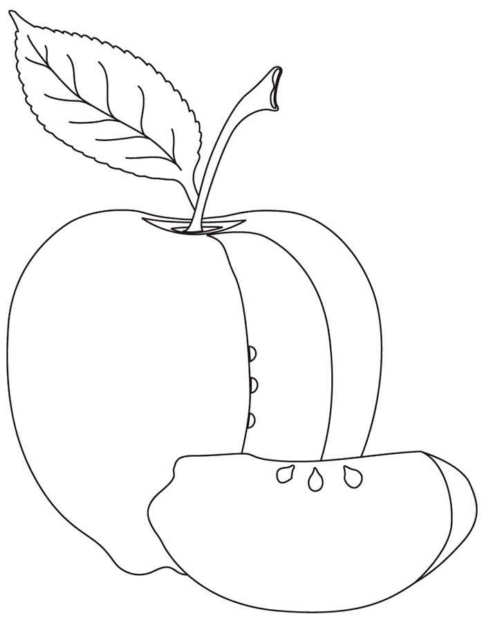 Раскраска яблоко скачать и распечатать