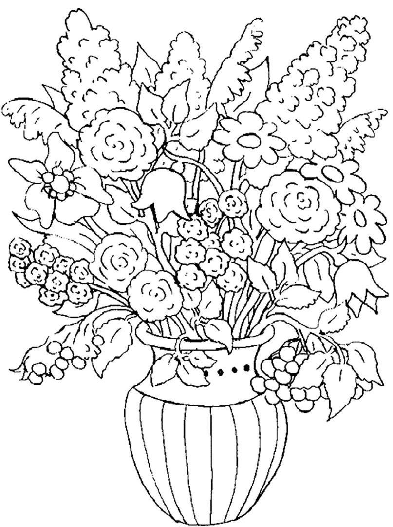 этот картинки для раскрашивания ваза с листьями петунии это однолетнее