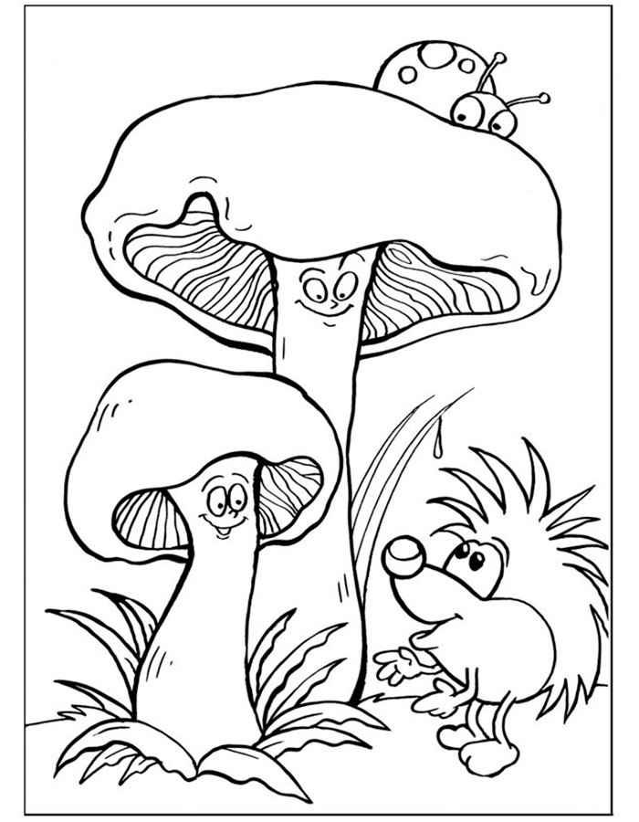 Раскраска грибы скачать и распечатать
