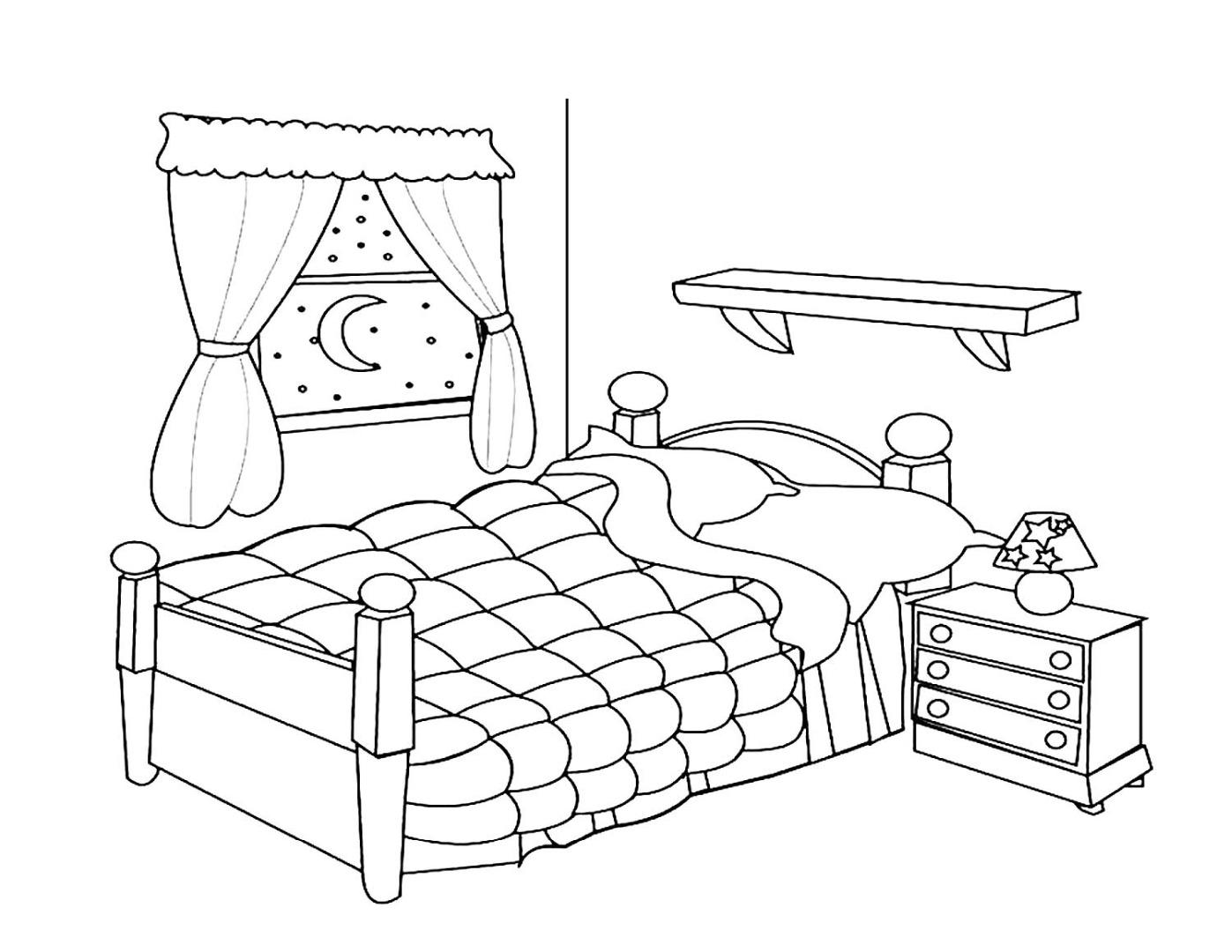 Раскраска кроватка для куклы