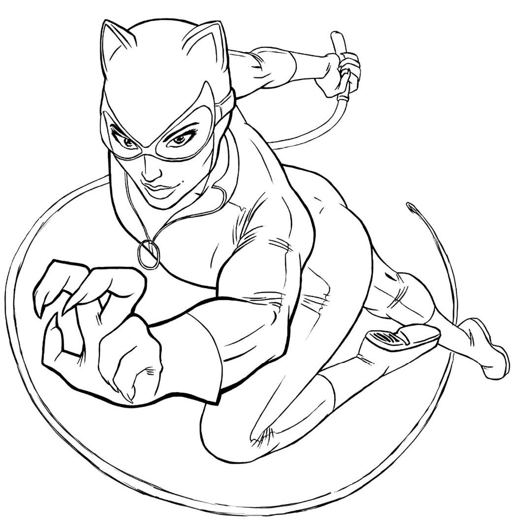 Раскраска Женщина Кошка скачать и распечатать