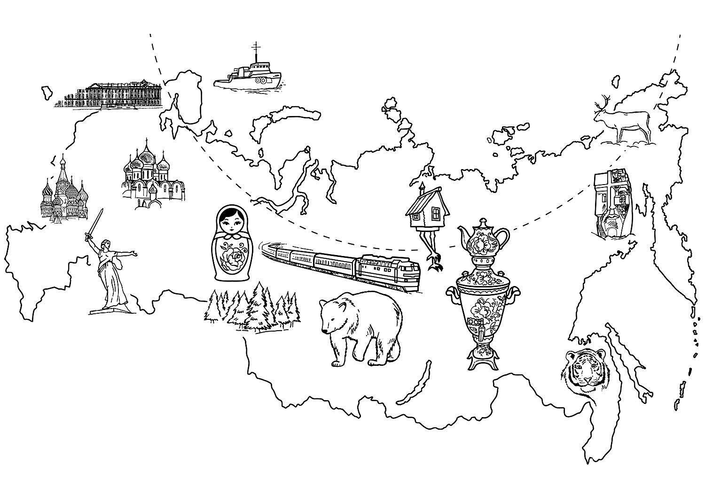 процессе картинка карты россии для распечатки самый простой