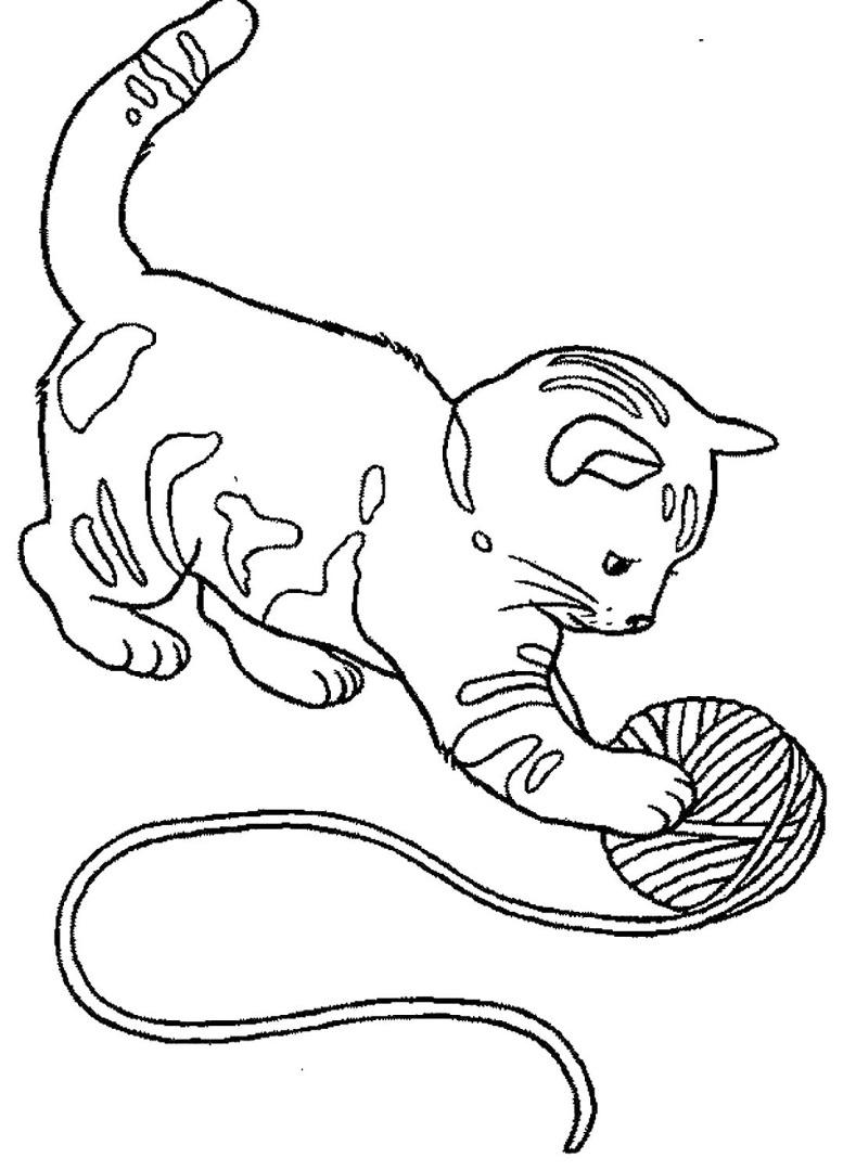 Раскраска котенок с клубком скачать и распечатать