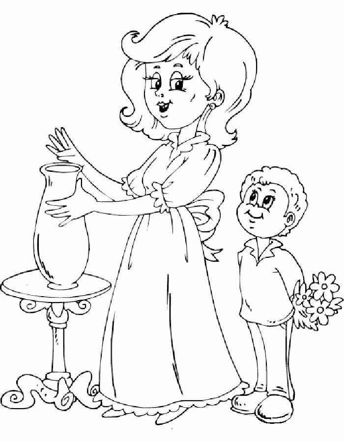 Раскраски к дню матери для детей - 4