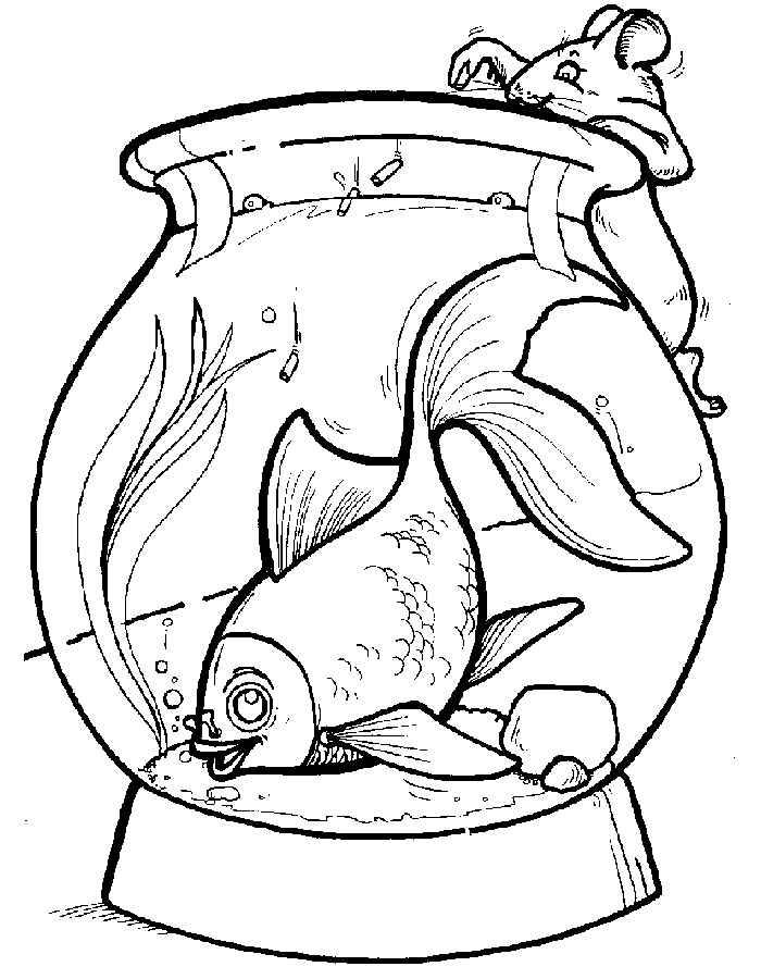 Раскраска аквариум с рыбками скачать и распечатать
