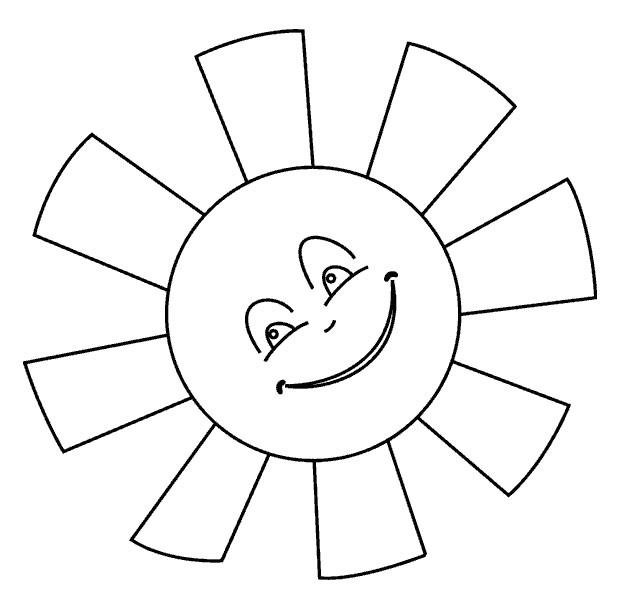 Раскраска солнышко с тучками