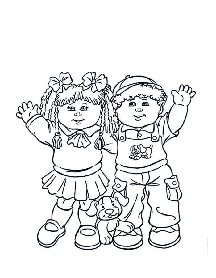 Раскраска девочка и мальчик скачать и распечатать