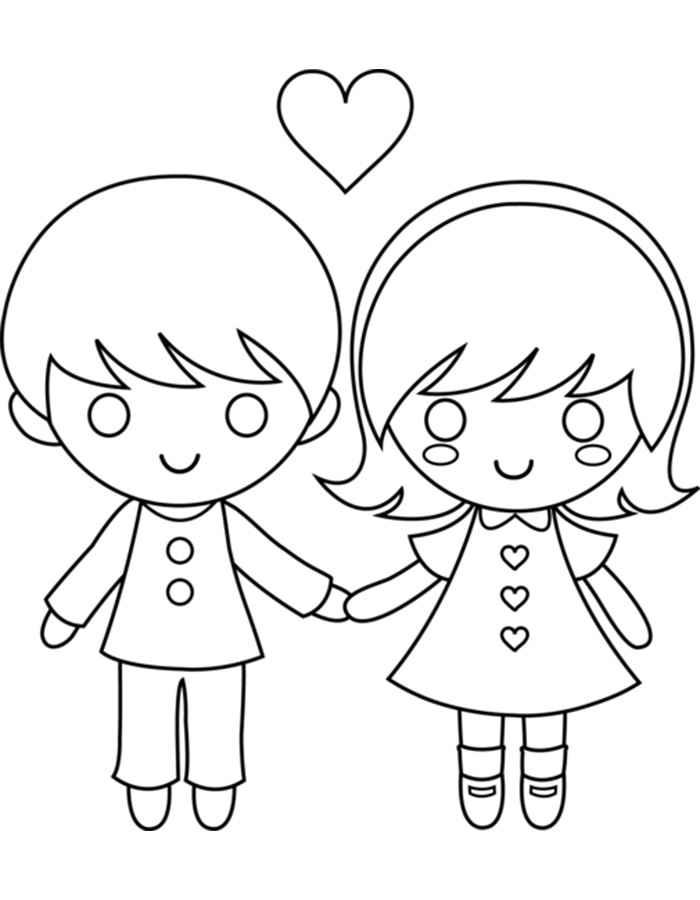 Мальчик и девочка держатся за руки раскраска 383