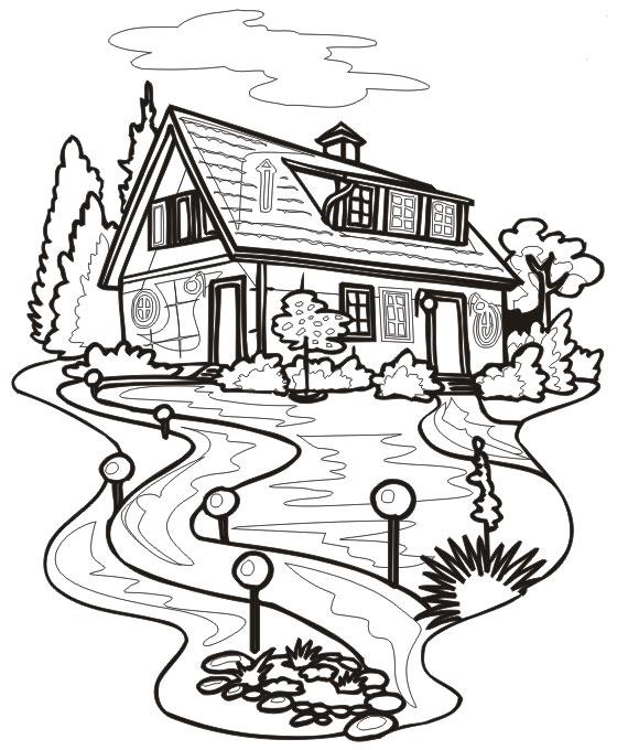 Раскраска домик скачать и распечатать