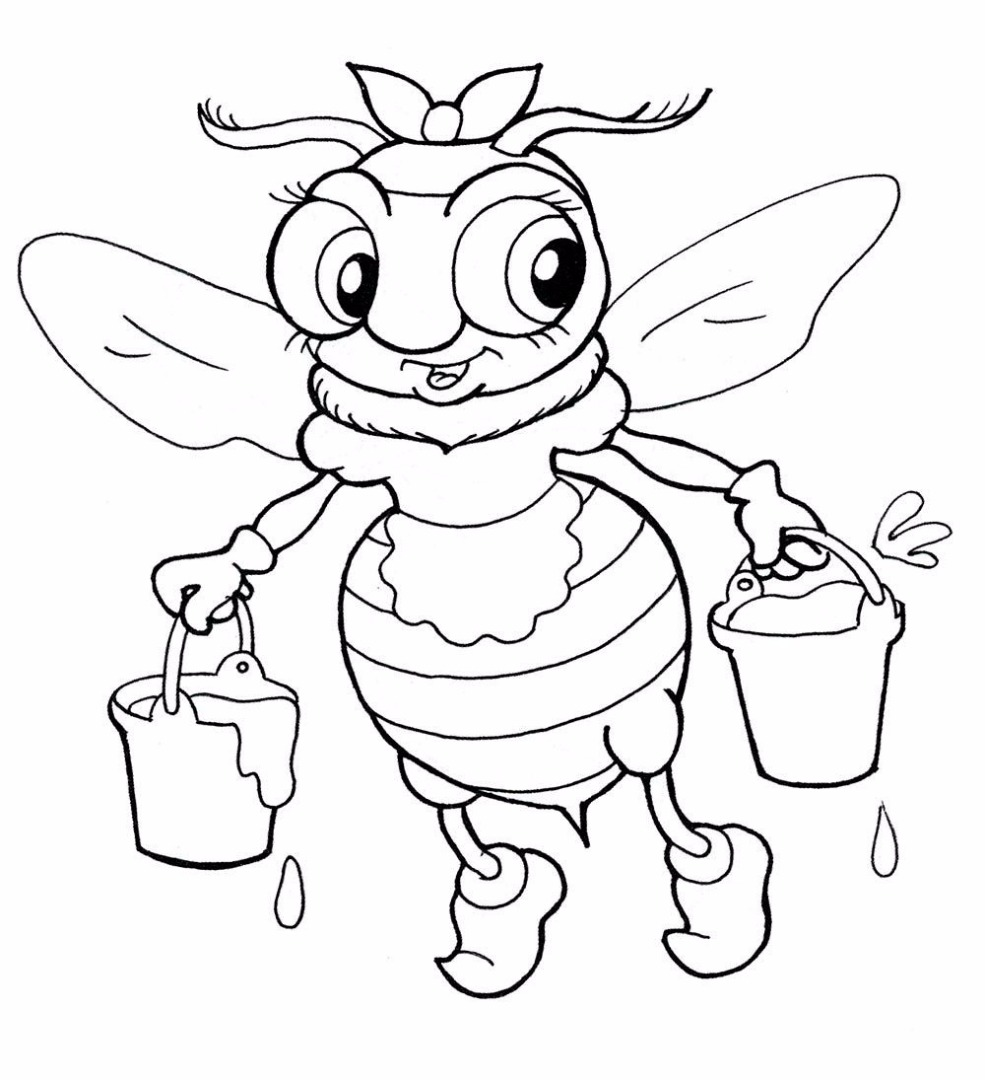 Раскраски мед и пчелы
