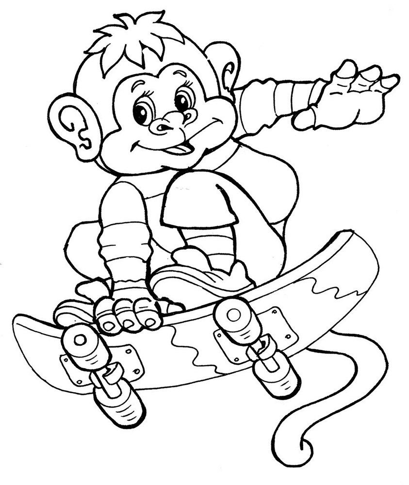 Скачать раскраски обезьянка