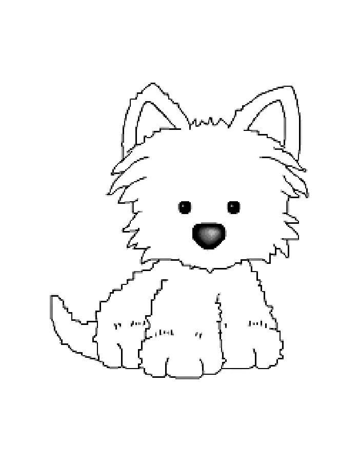 Раскраска щенок скачать и распечатать