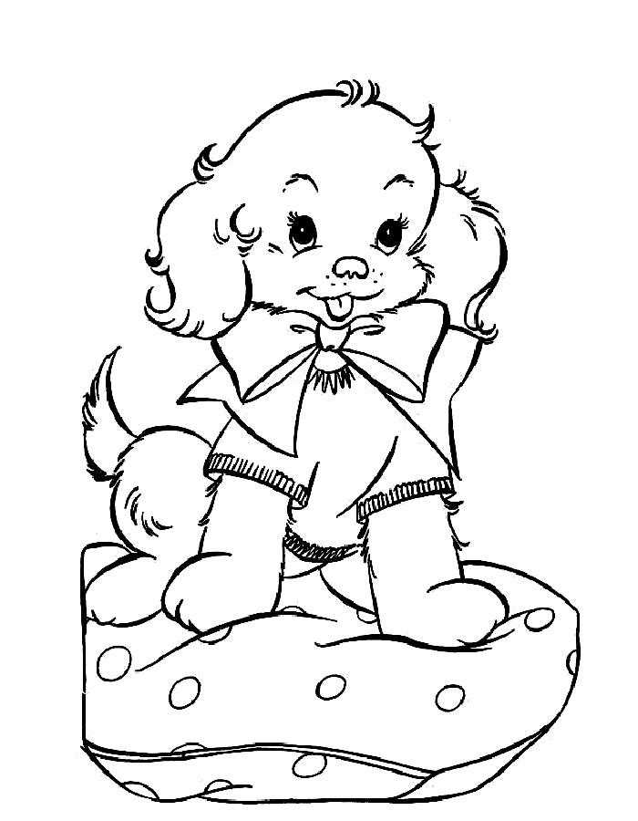 Раскраска девочка с собачкой - 8