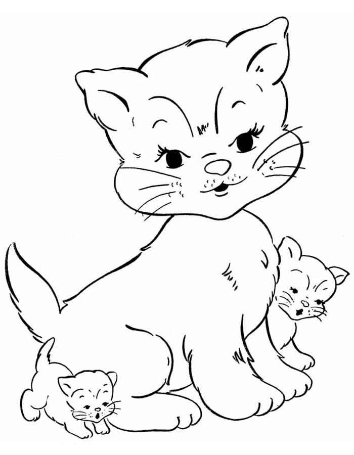 его картинки для раскрашивания животные кошки сей раз