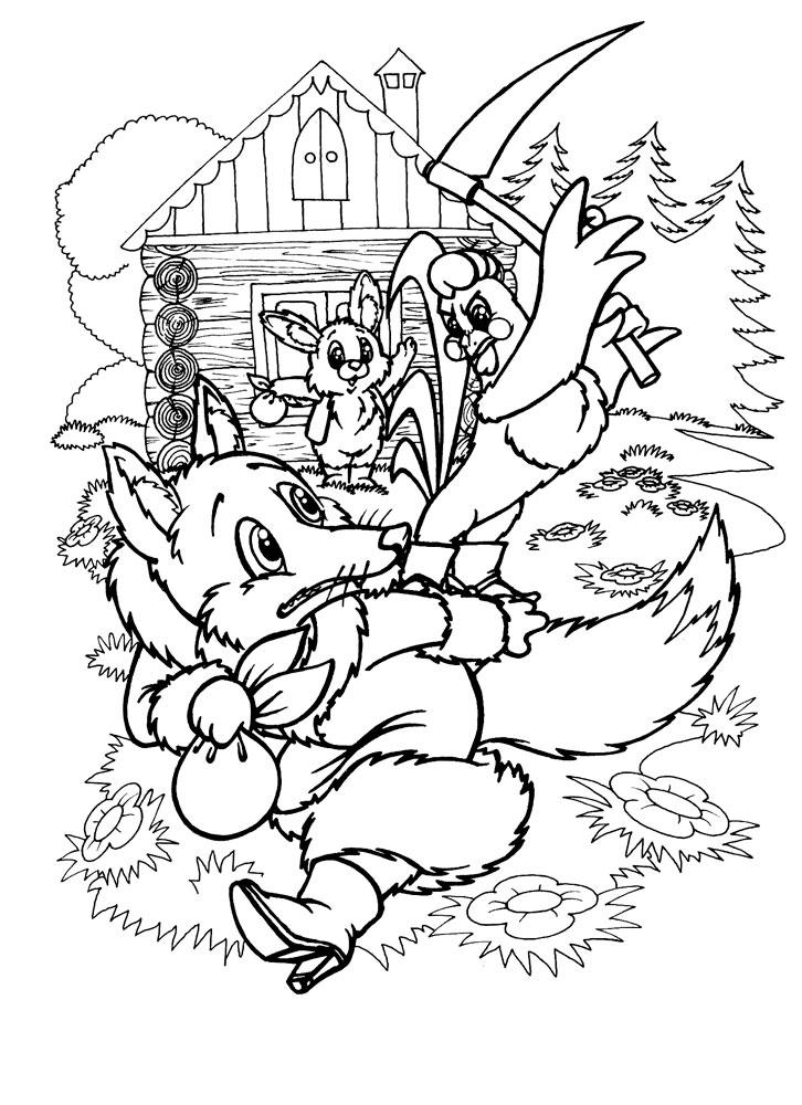 Зайцы и лиса раскраска