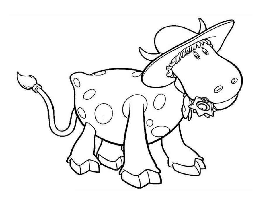 Раскраска корова скачать и распечатать