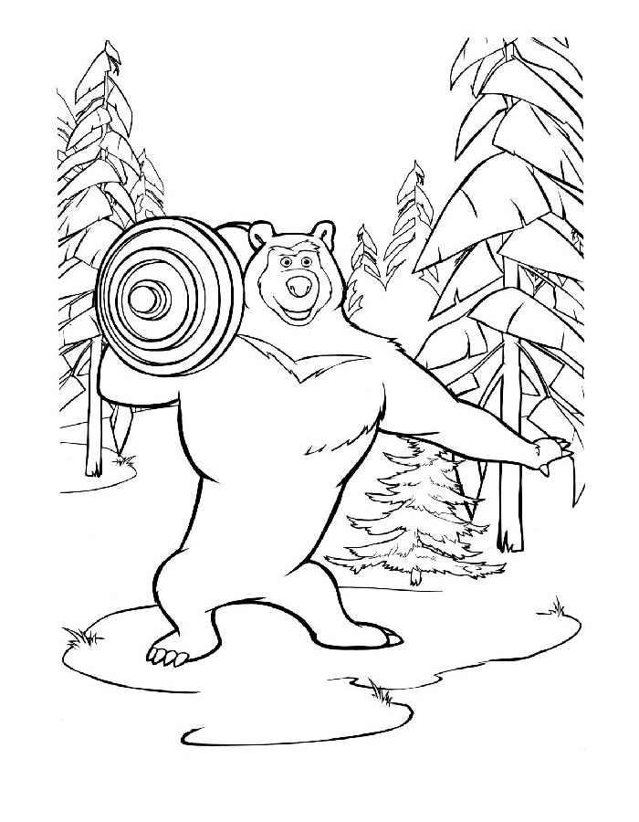 Раскраска Маша и Медведь скачать и распечатать