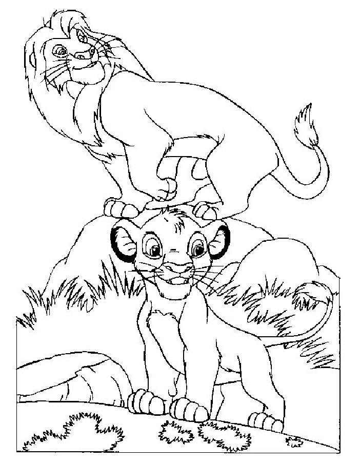 Раскраска Король лев скачать и распечатать