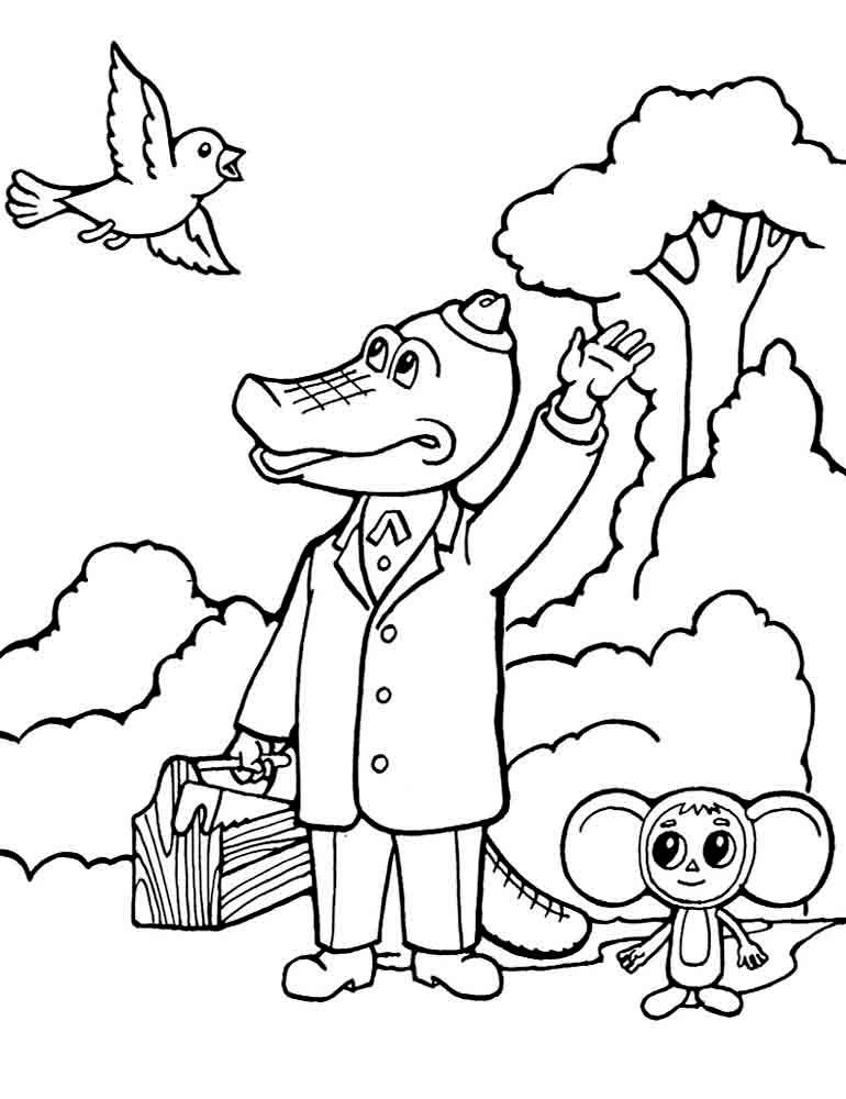 Раскраска Чебурашка и крокодил Гена скачать и распечатать