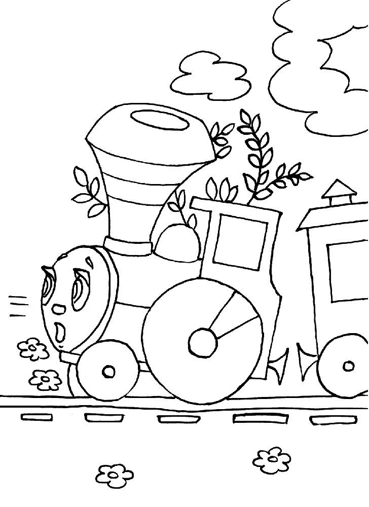 Мультики про паровозик раскраска