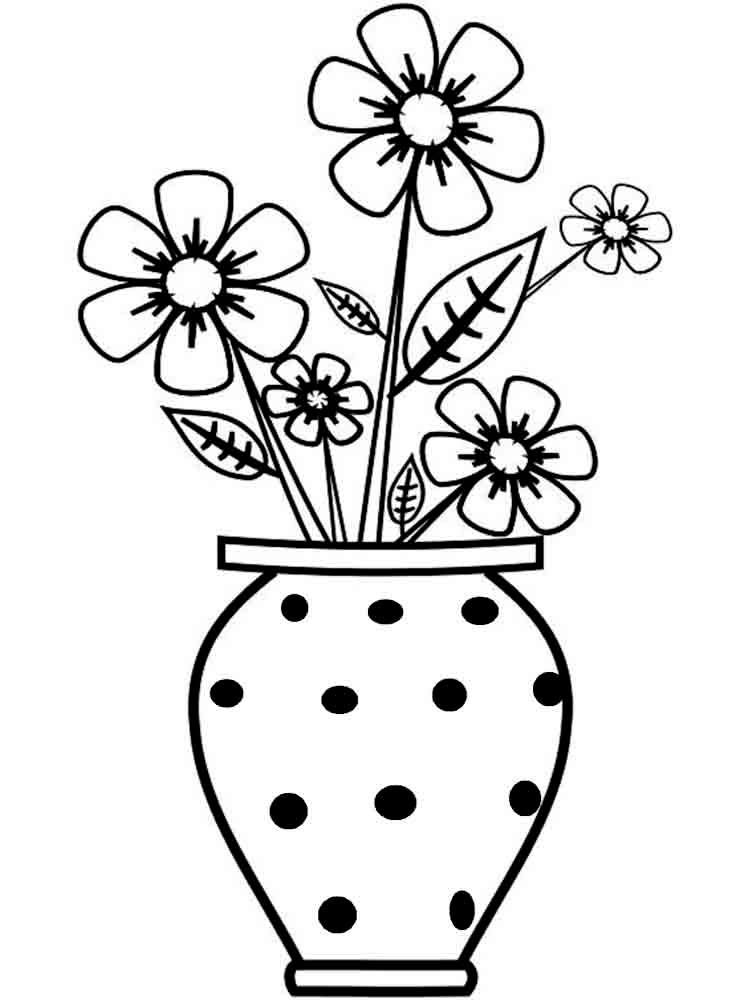 Анимация, раскраска цветов в вазе