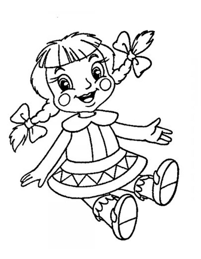 Раскраска для девочек кукла - 9