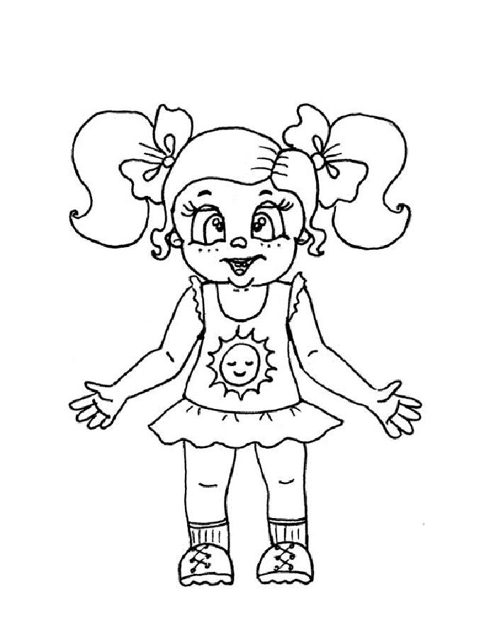 Раскраска кукла скачать и распечатать