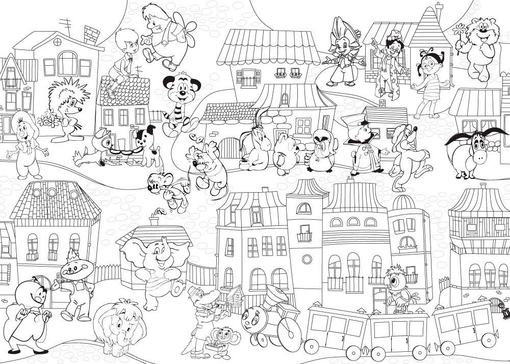 Раскраска город скачать и распечатать Картинка Журавль