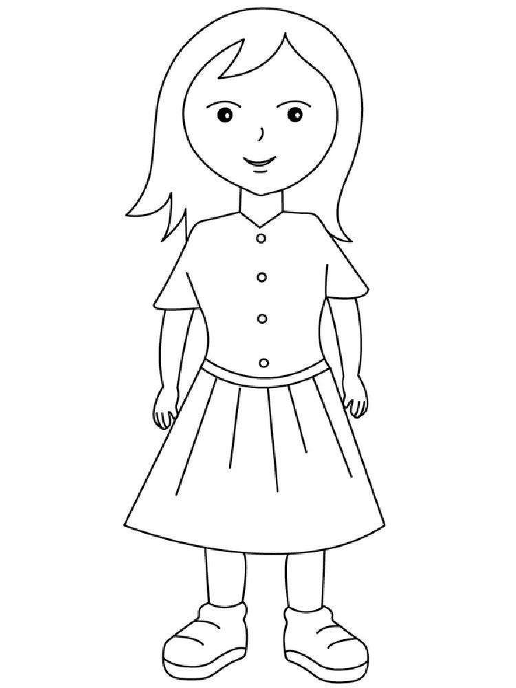 Раскраска девочка в платье для детей - 10