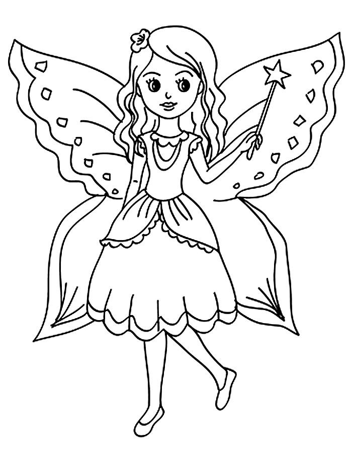 Раскраска для девочек бабочки - 6