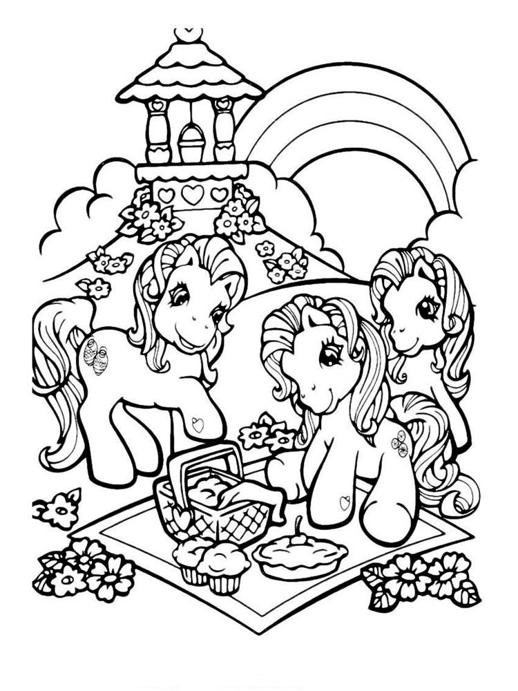 Раскраски с маленькими лошадками
