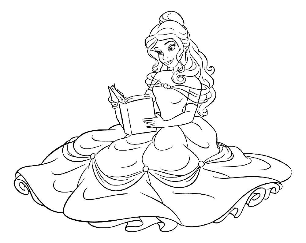 Раскраска принцесса Белль скачать и распечатать
