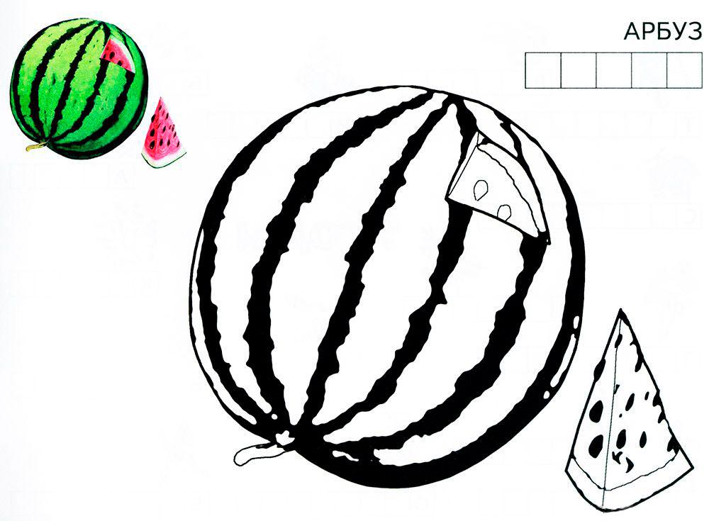 картинка раскраска арбуз