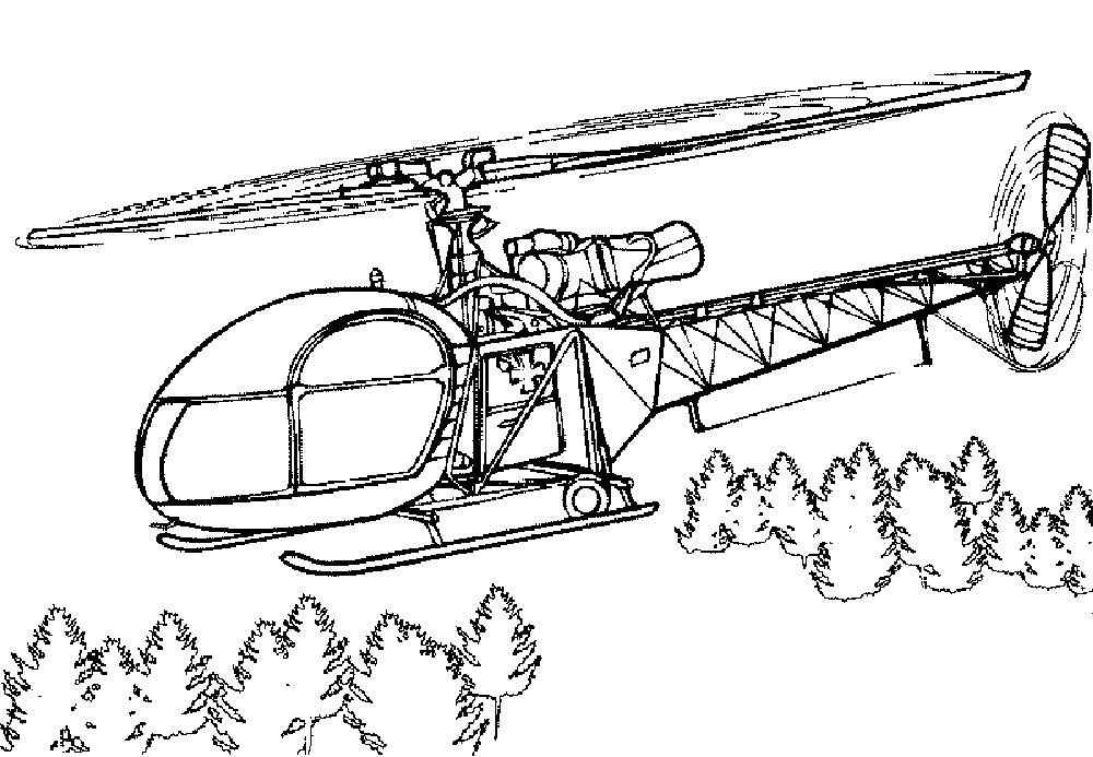 Раскраска вертолёт скачать и распечатать