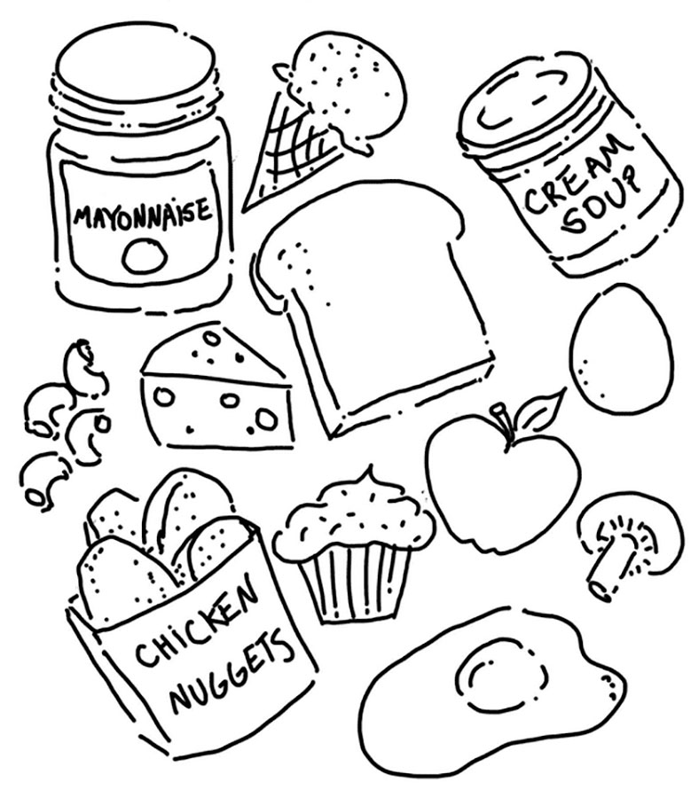 Раскраска еда скачать и распечатать