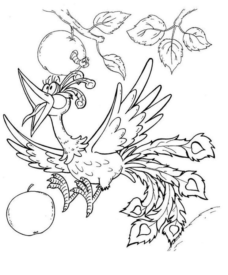 Сказочная птица раскраска для доу