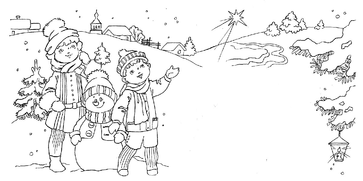 Раскраска ребенок зимой