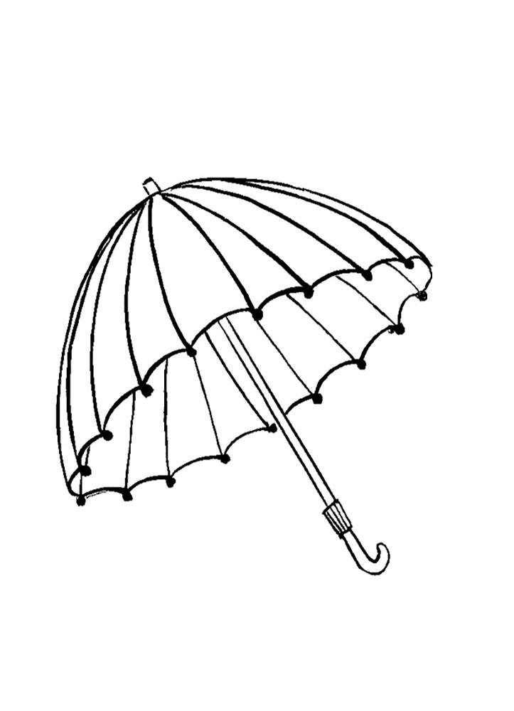 Картинка зонт для раскраски