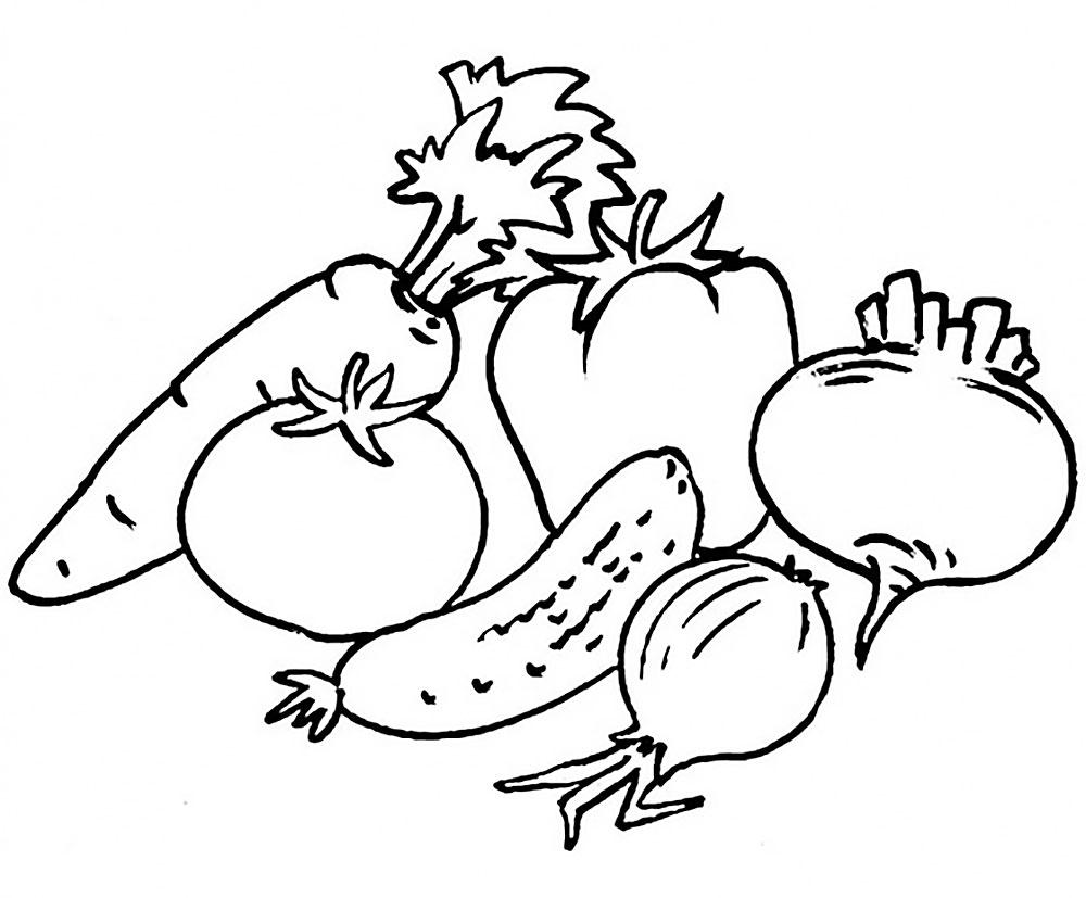 картинки овощи раскраска